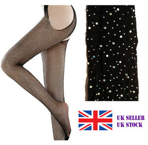 Crystal Diamond Fishnet Open Crotch Mesh Pantyhose Suspender Tights Stockings UK