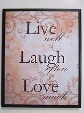 Live Well Laugh Often Love Much romantic chic wall decor picture peach plaque