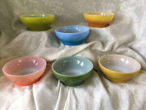 Lot Of 6 Vintage Fire King Chili/Cereal Bowls, Ribbed Base, Fired-On Multi-Color
