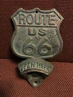 ROUTE 66 Cast Iron Metal Plaque OPEN HERE Beer Bottle Opener Wall Mount