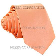 "New Vesuvio Napoli Men's 2.5"" skinny necktie only solid polyester prom Peach"