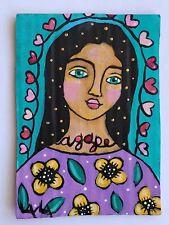 ORIGINAL ACEO Folk Art Agape Girl Woman Flower Heart Love Leaf Whimsical God