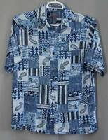 mens Hawaiian Aloha shirt Crazy Horse Claiborne sIze M blue rayon short sleeve