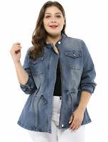 Women's Plus Size Stand Collar Zip Drawstring Denim Jacket