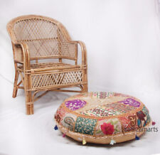 "Indian 32"" Beige Handmade Cushion Cover New Vintage Patchwork Round Pillow Case"