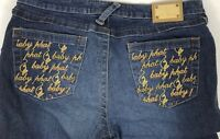 Baby Phat Women Size 9 Blue Denim Jeans Flare Pocket Waist Details