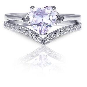 Elegant Lavender Heart CZ Genuine Sterling Silver Two Ring Chevron Set