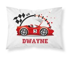 Personalised Children Racing Car Pillowcase Printed Gift Custom Print Made 101