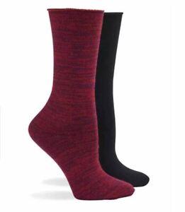 HUE 2-pack ultra soft roll women's boot socks - BLACK/DEEP BURGUNDY- One size