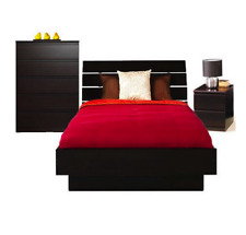 Queen 4 Piece Bedroom Set Platform Bed Headboard Chest Nightstand Wood Furniture