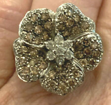 FLORAL WHITE AND CHAMPAGNE DIAMOND RING 14K WHITE GOLD 7