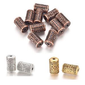 10pcs Tibetan Alloy Column Beads Mini Metal Loose Spacer DIY Crafting 17x10mm