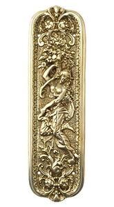 "Art Nouveau Grecian Lady Fingerplate - 10"" antique style brass finger push plate"