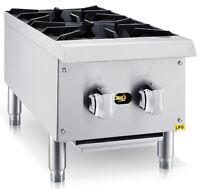 "Chef's Exclusive 12"" 2 Burner Commercial Countertop Hot Plate 50,000BTU - LP GAS"