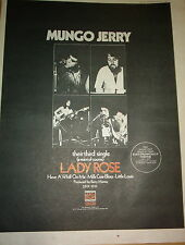 MUNGO JERRY Lady Rose 1971 UK Poster size Press ADVERT 16x12 inches