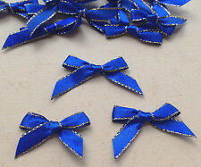 "100 Navy Blue Gold Satin Ribbon Gift Bow 1 3/8"" Holiday Wedding Card Craft"