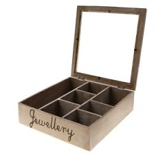 Rustic vintage shabby country cottage chic wooden jewellery box storage homeware