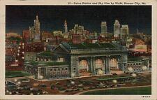 VTG Union Station and Sky Line by Night in Kansas City Missouri MO Postcard