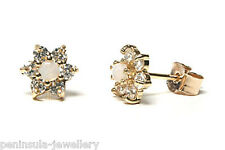 9ct Gold Opal and CZ cluster Studs earrings Gift Boxed Made in UK Christmas Xmas