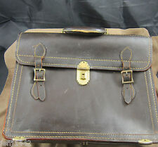 "Vintage Top Grain Cow hide leather business briefcase 14"" x 12"" x 6"""