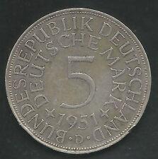 GERMANY, WEST, 1951-D, 5 MARK, SILVER,  KM#112.1,  EXTRA FINE