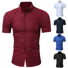 ITS- Men's Luxury Stylish Casual Button Down Short Sleeve Slim Fit Dress Shirts