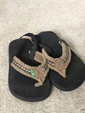 Boys Sanuk Flip Flops - Size 8-9 T ~ Brown ~ Backstrap