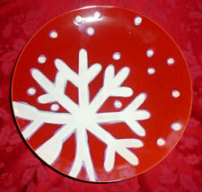 TARGET HOLIDAY 2007 RED SNOWFLAKE CHRISTMAS DINNER PLATE SET OF 8