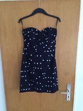NEU H&M Kleid Trend off shoulder bandeau Gr.38 M blau Punkte weiss navy Blogger
