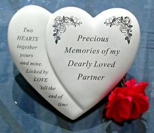 PRECIOUS MEMORIES DEARLY LOVED PARTNER  GRAVE MEMORIAL PLAQUE TWO JOINED HEARTS