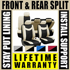 Tan & Black Complete Full Car Seat Covers Set - OEM Split Fold Truck SUV G45