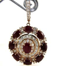 Oval Red Ruby & Diamond Drop Cluster Fashion Earrings 14K Yellow Gold 24.05Ct