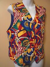 Pendleton Nautical Vest Ladies Size 12 Multi colored Ropes Anchors Flags Crowns