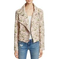 [BLANKNYC] Womens Pink Floral Jacquard Motorcycle Jacket Outerwear S BHFO 8849