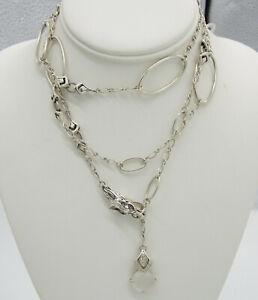 JOHN HARDY Batu Naga Dragon Quartz Sapphire Sterling Silver Long Lariat Necklace