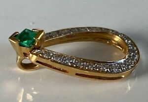 VERY BEAUTIFUL 18CT GOLD DIAMOND & EMERALD PENDANT