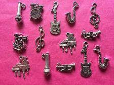 Tibetan Silver Mixed Musical Instruments Charms - 14 per pack - music themes