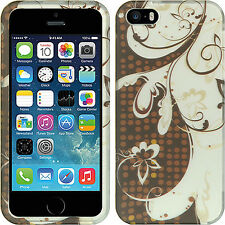 For iPhone 5 5S SE Rubberized HARD Protector Case Cover Brown Silver Flower