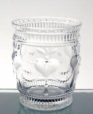 Heart juice glass tumbler, Drinkware glass, cap 10 oz, Clear, set of 4