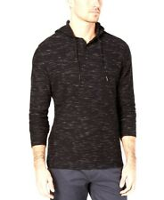 NEW ALFANI BLACK HEATHER TEXTURED RIBBED STRIPED HENLEY HOODIE SHIRT SIZE S