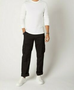Mens Organic Cotton Loose Fit Cargo Trousers - Black W38 (Firs)
