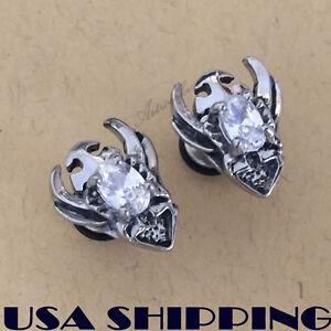 White Cubic Zircon Battle Shield Stainless Steel Men Earrings Ear Screw Stud