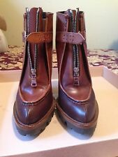 PRADA ZIP FRONT LUG SOLE BOOTIES - NEW SZ 38