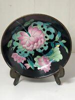 Vintage Chinese Ceramic Dish Bowl Encased In Brass Marked To Base