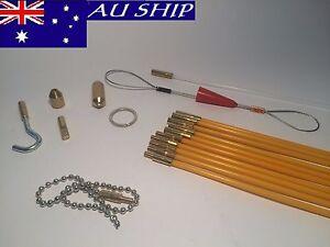 ISGM Fiberglass Rodder Cable cavity Rods Kit Fish Tape PUSH PULL DUCT SNAKE Rods
