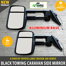 NEW Black Electric Towing Caravan Side Mirrors 2 x Toyota Landcruiser 200 Series