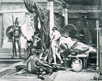 Trojan War HECTOR CATCHES PARIS & NAKED NUDE GIRL HELEN OF TROY ~ 1892 Art Print