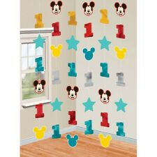 MICKEY MOUSE 1ST BIRTHDAY PARTY SUPPLIES 6 HANGING STRING SWIRL DECORATIONS
