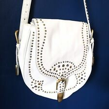 *BRAND NEW* White 100% Leather Studded Cross Body Bag Studded Western Boho