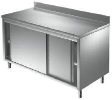 TABLE ARMOIRE SUR MEUBLE INOX PORTES COULISSANTES, DOSSERET NEUF cm 120x70x8h